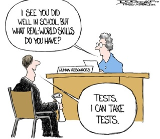 Education system focuses on tests.